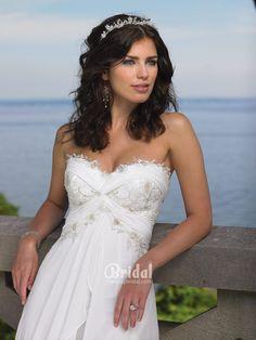 empire waist beach wedding dresses with strapless sweetheart neckline