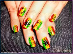 Rasta nail art