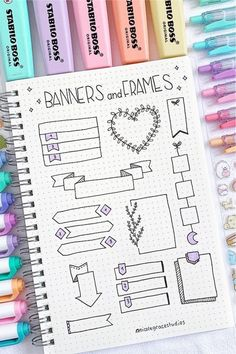 Check out these super cute bullet journal bbanner doodle ideas for inspiration! Bullet Journal Paper, Bullet Journal Headers, Bullet Journal Notebook, Bullet Journal School, Bullet Journal Ideas Pages, Bullet Journal Inspiration, Bullet Journal Decoration, January Bullet Journal, Journal Fonts