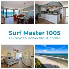 2020 Notice: Surf Master 1005 is BRAND NEW to our rental management program. Renovations totaling over $30,000 include new ceramic floor tile throughout, freshly painted walls, new kitchen cabinets, granite countertops, and stainless steel appliances, completely updated bathrooms, and updated furniture and artwork throughout. These updates are sure to please any guest looking for beautiful accommodations at the beach. Painted Walls, New Kitchen Cabinets, Granite Countertops, Vacation Rentals, Bathrooms, Surfing, Condo, Tile, Management