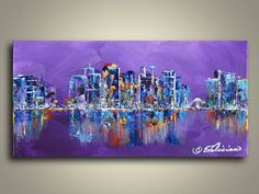 Mini Original Acrylic Cityscape Painting by NYoriginalpaintings, $49.00