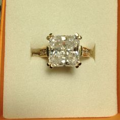 Princess Cut Cz Solitaire In Yellow Gold Tone Band