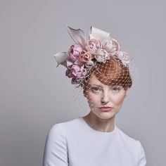 Pale pink grazia flower headdress with face veil