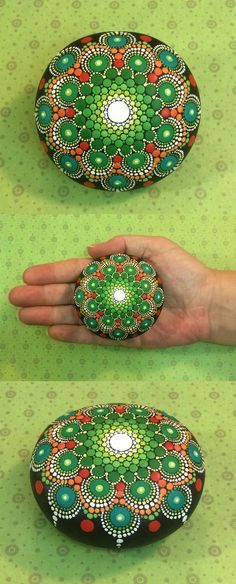"Mandala Stone by Kimberly Vallee: Hand painted with acrylic and protected with a matt finish, each stone is about 2.5"" diameter and is one-of-a-kind."