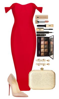 """""""Untitled #1484"""" by fabianarveloc ❤ liked on Polyvore featuring Christian Louboutin, Jessica McClintock, Marc Jacobs, Yves Saint Laurent, Lancôme, By Terry and Ben-Amun"""