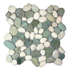 Sea Green and White Pebble Tile - Pebble Tile Shop.          For my bathroom floor