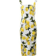 Dolce & Gabbana  Lemon Print Dress ($2,395) ❤ liked on Polyvore featuring dresses, slimming white dress, white knee length dress, lemon print dress, slimming dresses and white dress
