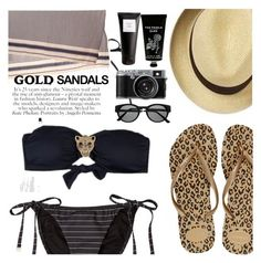 """Micro Trend: Solid Gold Sandals"" by sanddollardubai ❤ liked on Polyvore featuring Havaianas, OndadeMar, TokyoMilk, Eight & Bob and Retrò"