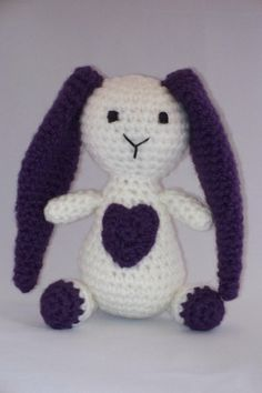 Crochet Bunny with a Big Heart Stuffed Toy by lousknittingroom, $20.00