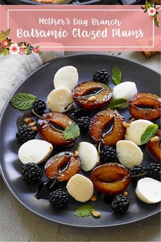 Balsamic Glaze, Balsamic Vinegar, Mothers Day Brunch, Fresh Mint, Salad Plates, Fruit Salad, Plum, Cooking, Desserts