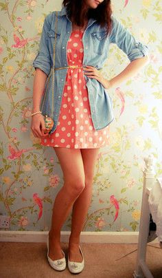 Polka dot dress with jean jacket! So pretty!