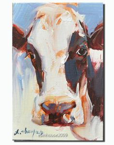 Western Animals Cow Portrait Original Oil Canvas Panel Painting | eBay