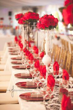 Wedding table decor, elegant, red