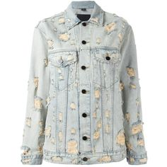 Alexander Wang distressed denim jacket (210 BHD) ❤ liked on Polyvore featuring outerwear, jackets, blue, alexander wang, long sleeve jacket, distressed denim jacket, alexander wang jacket and blue jackets