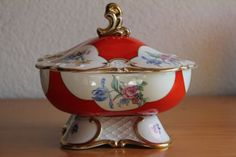 Antike Grosse Eschenbach Porzellan Dose Deckeldose Prunk Malerei in Antiquitäten & Kunst, Porzellan & Keramik, Porzellan | eBay