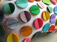 Multi Color Rainbow Felt Disc Pillow by dedeetsyshop on Etsy