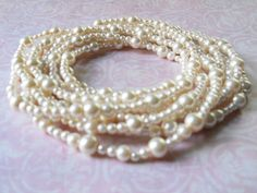 Pearl Necklace Ivory Pearl Necklace Long Pearl by PearlyJaneBridal