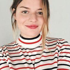 Those stripes. Sabina Socol in Samsøe & Samsøe Sanella t-neck.