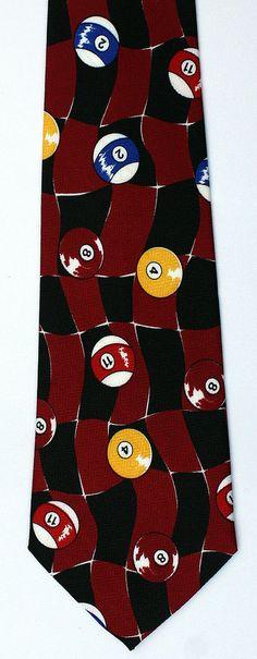 New Billiards Mens Necktie Pool Cue Ball Game Balls Checkerboard Sport Neck Tie #ARogers #NeckTie