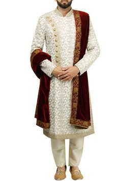 Ivory embroidered sherwani set by Gujral Sons Mens Indian Wear, Indian Groom Wear, Indian Men Fashion, Men's Fashion, Groom Fashion, Indian Man, Fashion Suits, High Fashion, Sherwani Groom