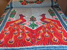 Vintage Chenille Peacock Bedspread. $175.00, via Etsy.