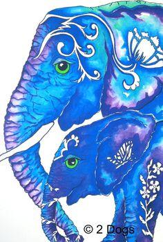 Elephant art print Mom and Baby elephant wall artwork, art print of a original watercolor 11x14. $14.50, via Etsy.