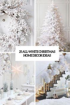 25 All-White Christmas Home Decor Ideas (DigsDigs) White Christmas Tree Decorations, White Christmas Lights, Christmas Balloons, Black Christmas Trees, Winter Wonderland Christmas, Modern Christmas, Christmas Home, Holiday Decor, Winter Decorations
