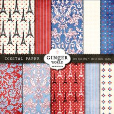 French love paris chic digital paper