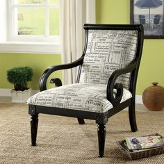 I AM A NOVELIST... SO I NEED TWO OF THESE IN MY HOME OFFICE ASAP - Furniture of America 'Scrolli' Script Printed Fabric Scroll Arm Accent Chair