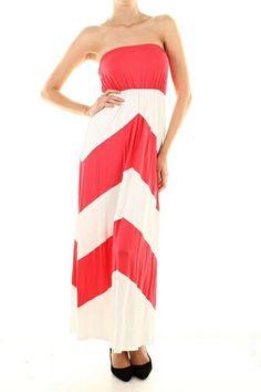 $34.95 Maxi Dress Color Block Coral - Kelly Brett Boutique