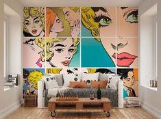 Wall Decals For Bedroom, Mural Wall Art, Pop Art Decor, Wall Decor, Living Room Decor, Bedroom Decor, Pop Art Bedroom, Bd Art, Pop Art Wallpaper