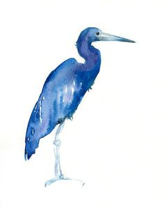 LITTLE blue HERON by DIMDI Original watercolor painting by dimdi, $25.00