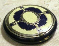 Vintage Powder Compact Art Deco Enamel Blue Cream Case Steel Mirror