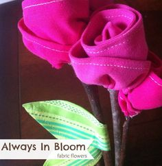This easy fabric flowers will always be in bloom! Made from your child's outgrown t shirts, they create a fun keepsake and are easy to create.