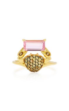 Shop Cosquilleo Gold, Tourmaline and Sapphire Ring. Mexican-born fine jewelry designer Daniela Villegas is known for using fabulous, often unexpected, stones. Minimalist Earrings, Minimalist Jewelry, Gold Bar Earrings, Gold Accessories, Pink Tourmaline, Solid Gold, 18k Gold, Fine Jewelry, Sapphire Rings