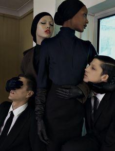 "Karlie Kloss and Jourdan Dunn in ""A Coat Mania"" by Emma Summerton Vogue Italia October 2009"