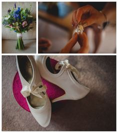 Country style bouquet and cream bridal shoes