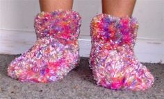 Adult Knitted feather slippers