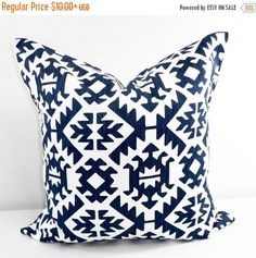 On Sale Blue Pillow cover. Blue and white by TwistedBobbinDesigns