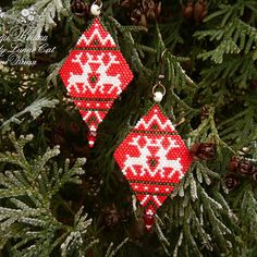 """Christmas deers earrings Red earrings Winter earrings Holiday earrings Christmas jewelry Beaded earrings Christmas gifts Christmas beaded earrings """"Christmas deers"""" by Lady Lunar Cat. Author's design, Japanese seed beads. Size: length 6,5 cm/ 2,16 inch, width 3,5 cm/ 1,37 inch, weight 5,5 g/ 0,194 ounces ( both ). Copying and plagiarism for commercial purposes without permission - is prohibited. ⛄️⛄️⛄️⛄️⛄️⛄️⛄️⛄️⛄️⛄️⛄️⛄️⛄️⛄️⛄️⛄️⛄️⛄️ You can by this earrings in my Etsy shop www.LadyLunarCat.et"""