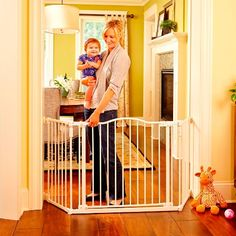 North States Deluxe Décor Extra Wide Safety Gate - Linen