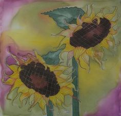 Hand Painted Sunflowers on Cotton Fabric  Quilt by paintedquilts