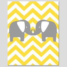 Modern Chevron Elephant Silhouette Print - 11 x 14 Chevron Zig Zag - Pick Your Colors - Gray, Yellow, Aqua, Pink, and More. $25.00, via Etsy.