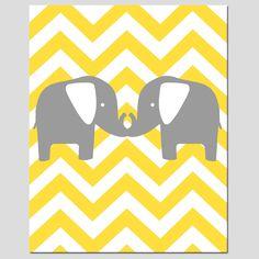 Modern Chevron Elephant Silhouette Print - 11 x 14 Chevron Zig Zag - Pick Your Colors - Gray, Yellow, Aqua, Pink, and More. $25.00, via Etsy.