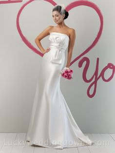 Perfect Ivory Summer Satin Strapless Wedding Dress with Envelop Pleated Bodice