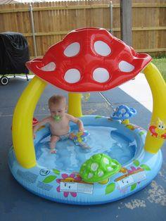 """inflatable kiddie pool   Inflatable Mushroom Baby/Kiddie Pool 40""""X 35 W/Shade Sun Play Outside ..."""
