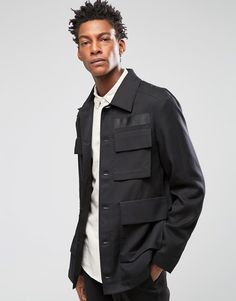 Image 1 of ASOS Slim Safari Jacket In Black Tencel