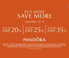Take advantage of the PANDORA Jewelry Buy More Save More event. Pre-Sale happening today, Sept 13th. Pandora and Synchrony card holders take their purchase home today. Save on all the must-have fall styles of the season including the NEW collection. See store for details. #MiamiLakesJewelers #Pandorajewelry @MiamiLakesJewelers