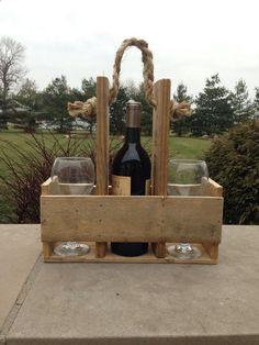 Handmade Wood Pallet Wine Bottle  Glass Carrier by CraftilySweet