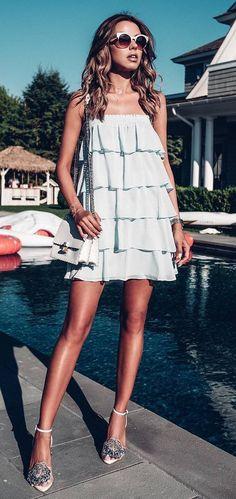 dress + bag + heels